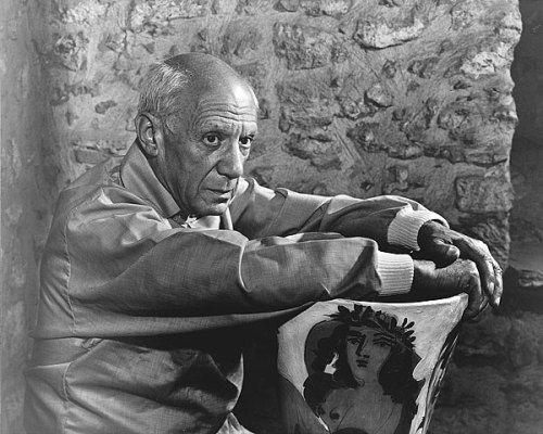 Picasso leans on art vase